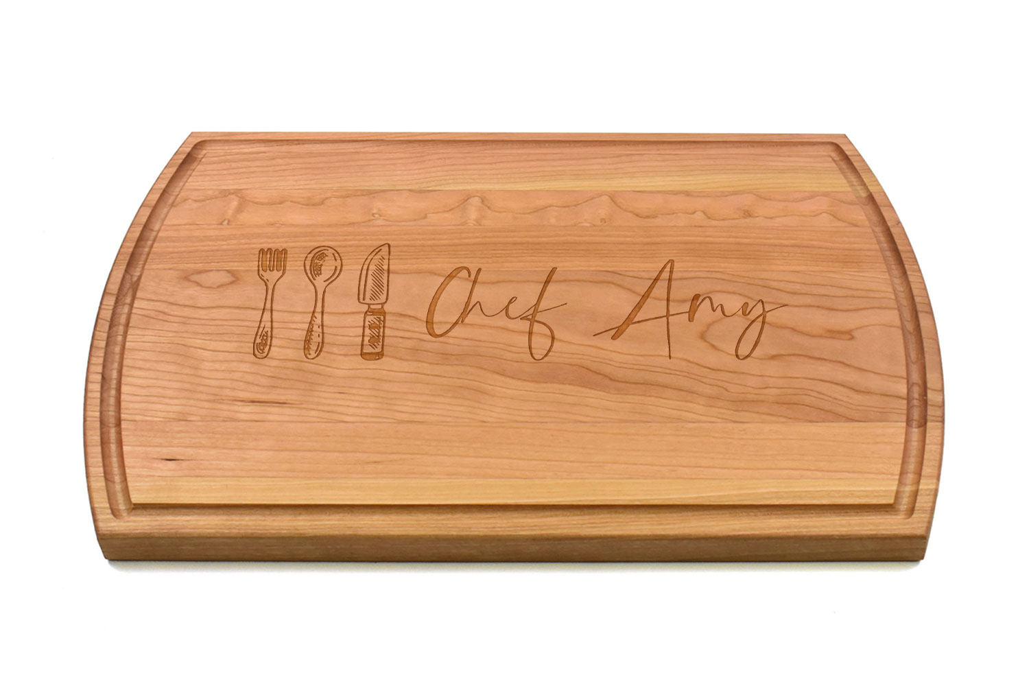 Large Canadian Made Cherry Wood Cutting Board, Personalised Engraving